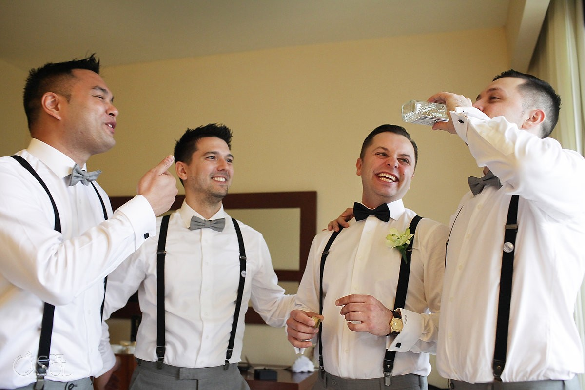 groom groomsmen toasting, getting ready Rain Wedding Hotel Grand Sunset Princess, Playa del Carmen, Mexico
