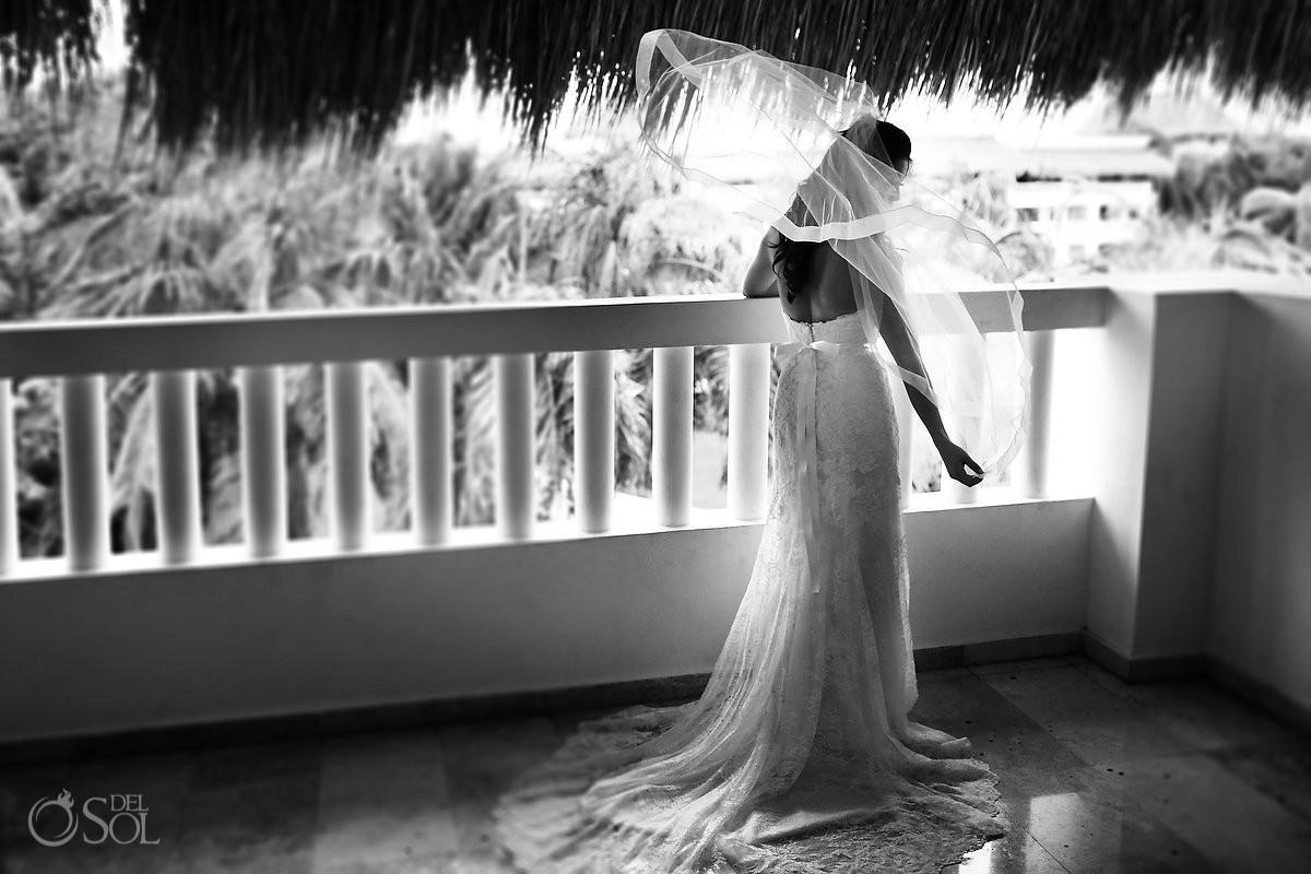 black white bridal portrait veil flying, Rain Wedding Hotel Grand Sunset Princess, Playa del Carmen, Mexico