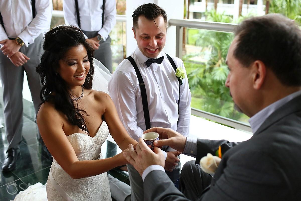 tea ceremony indoor Rain Wedding Hotel Grand Sunset Princess, Playa del Carmen, Mexico