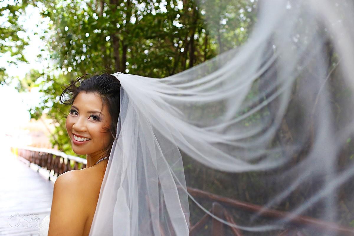 bride veil portrait Rain Wedding Hotel Grand Sunset Princess, Playa del Carmen, Mexico