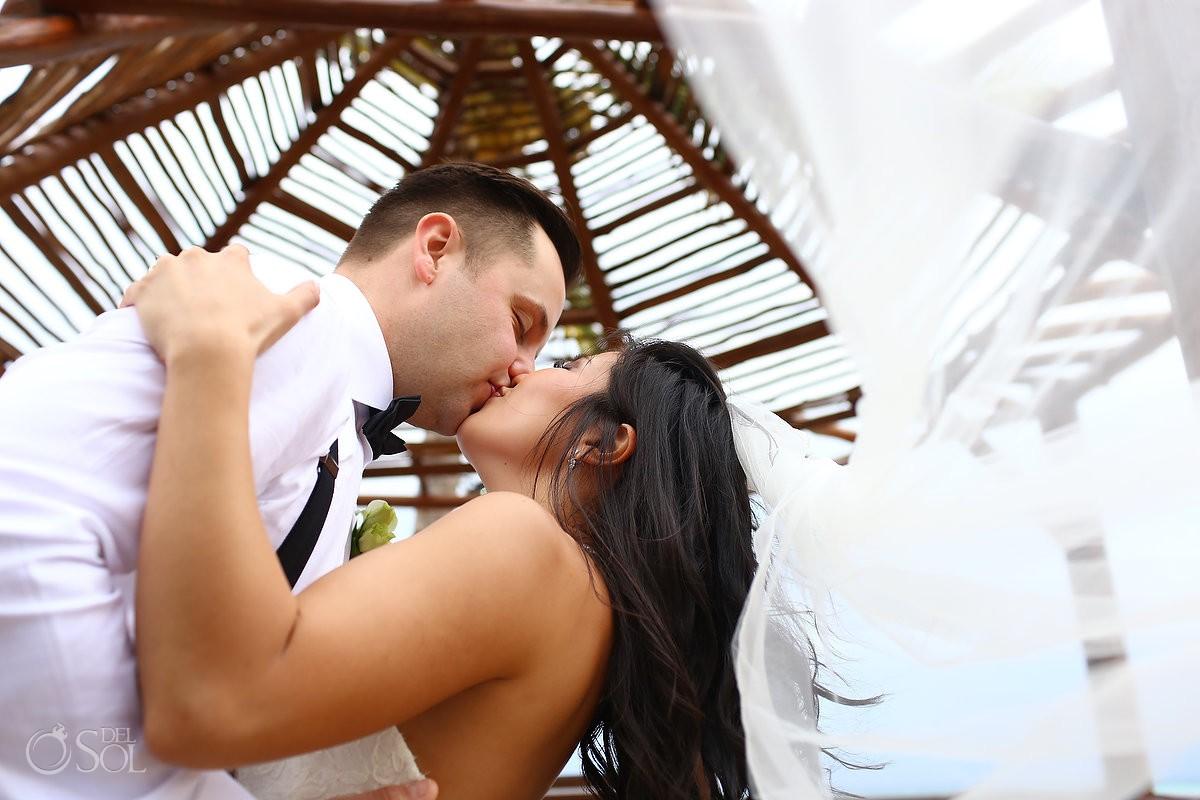 bride groom kiss wedding portrait gazebo Hotel Grand Sunset Princess, Playa del Carmen, Mexico