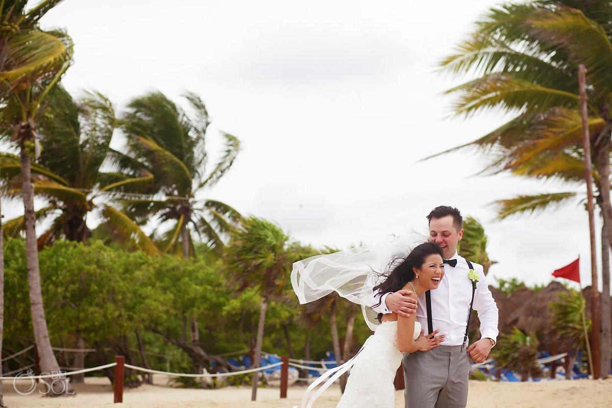 candid beach portrait, Rain Wedding Hotel Grand Sunset Princess, Playa del Carmen, Mexico