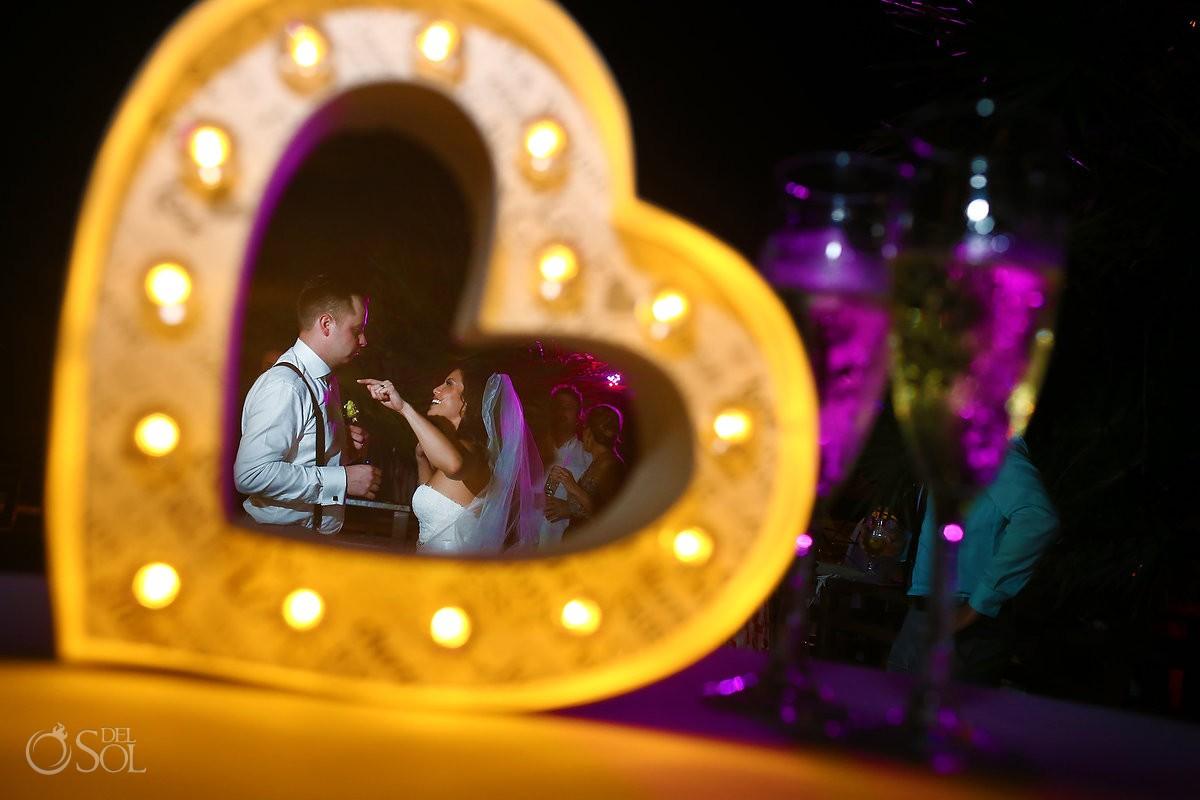 Wedding reception creative heart framing candid portrait, Grand Sunset Princess, Playa del Carmen, Mexico