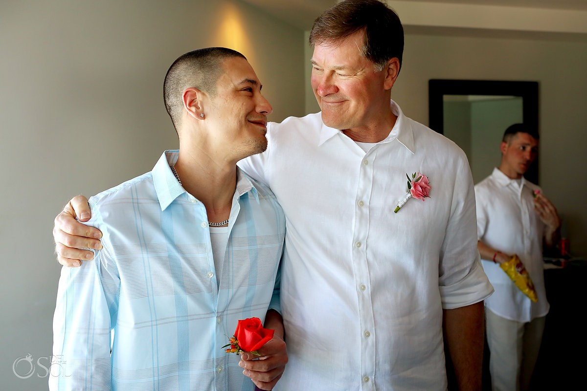 groom and father getting ready for wedding at Me cancun Mexico