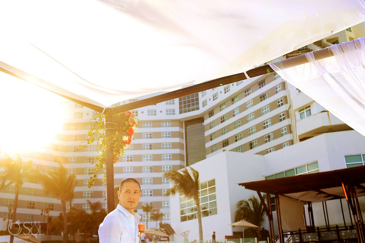 Groom at the wedding alter Melia Cancun Hotel