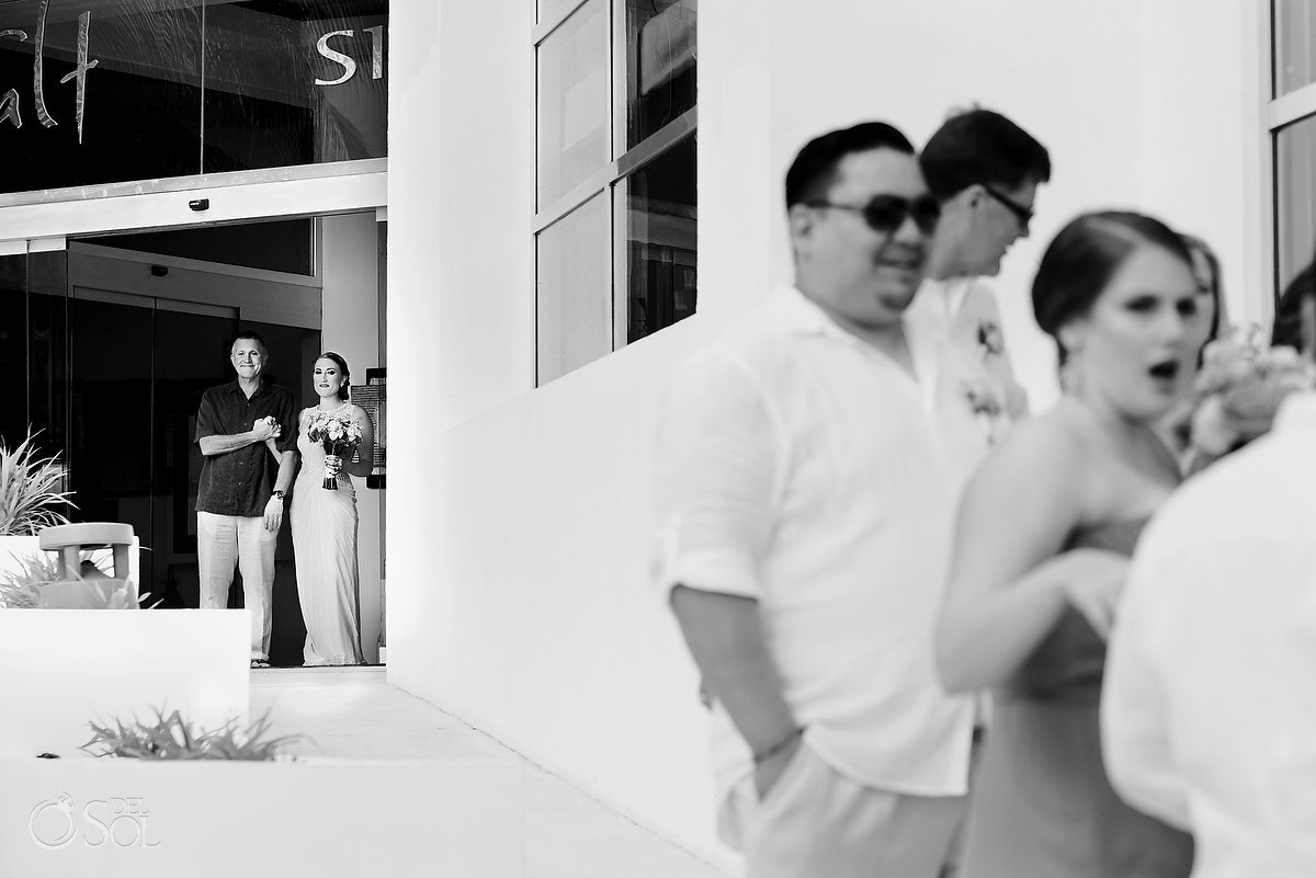 Father daughter moments destination wedding processional at Melia Cancun