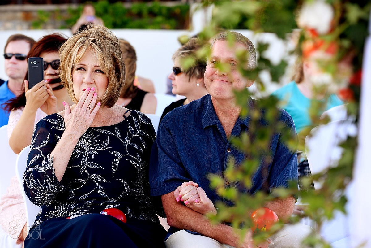 Emotional guest at destination beach wedding at Melia Me Hotel cancun