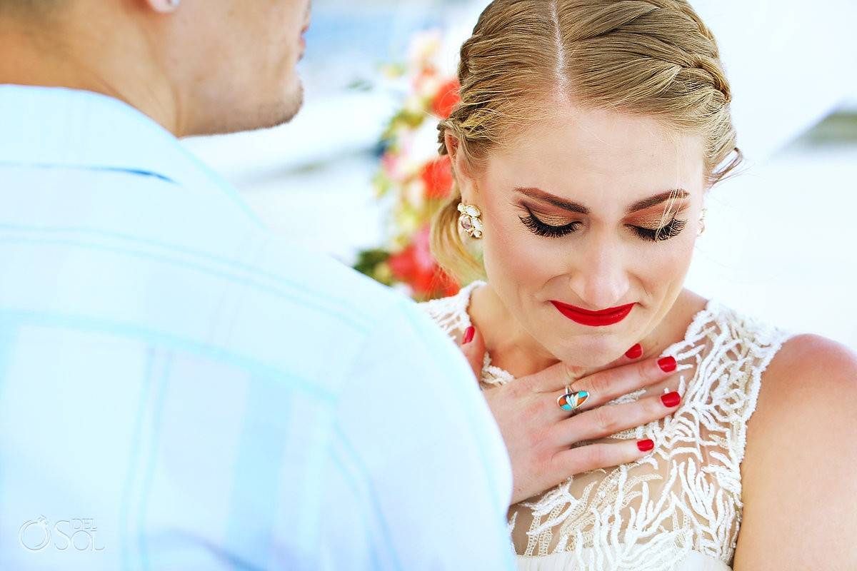 me melia cancun beach wedding bride crying