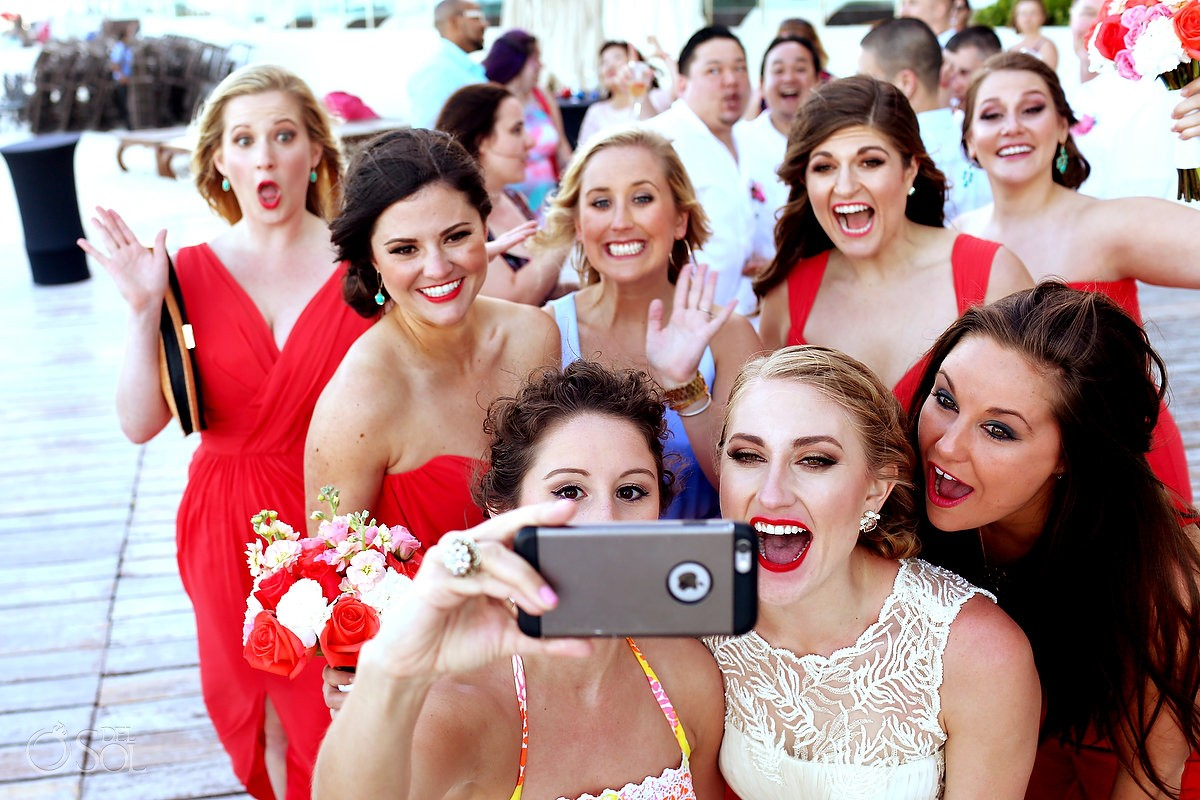 Bridal party selife at destination beach wedding at Melia Me Hotel cancun