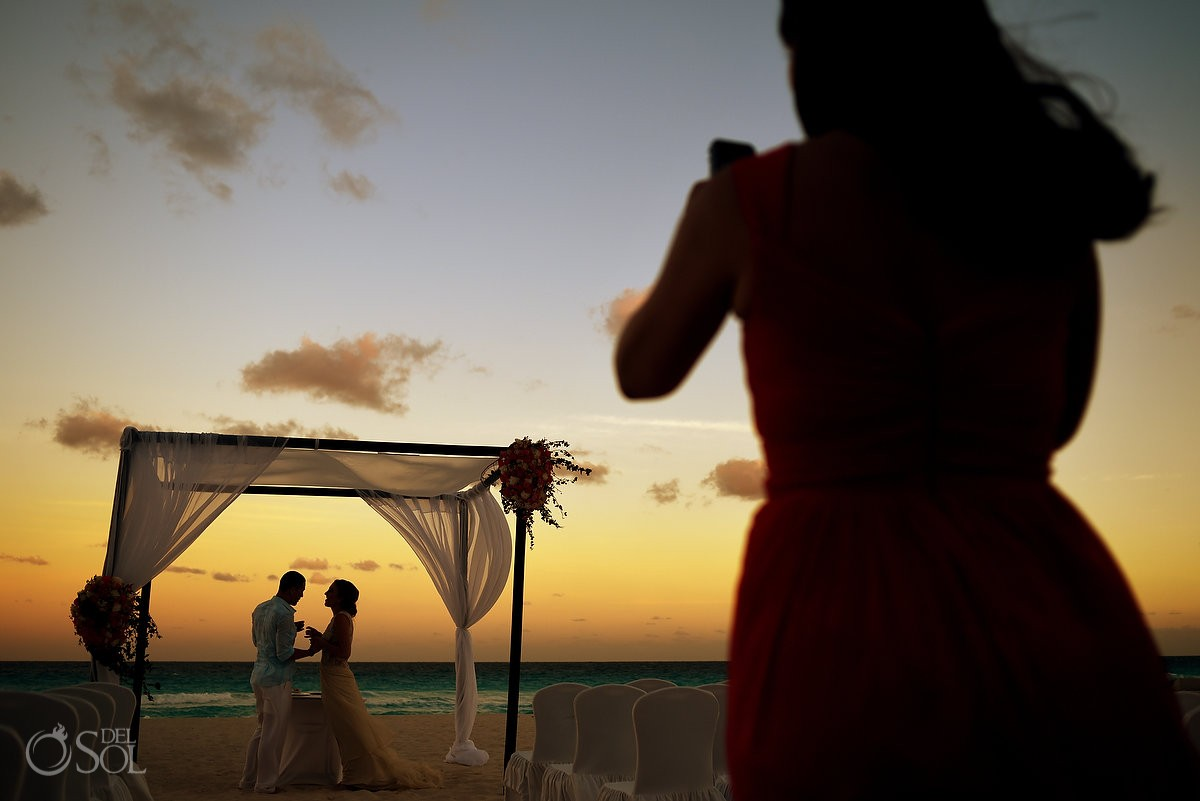 Bride and groom beach portrait at destination wedding at Melia Me Hotel cancun