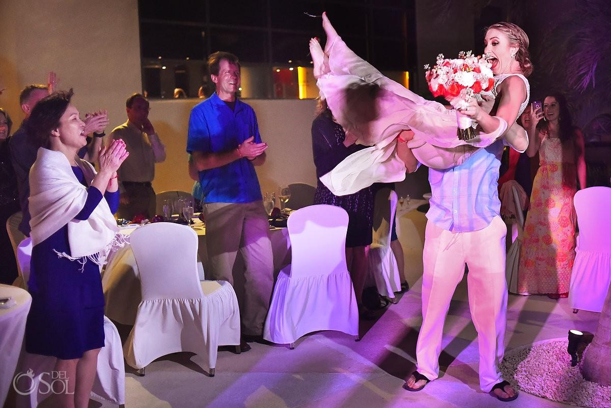 bride and groom enter melia me hotel destination wedding reception
