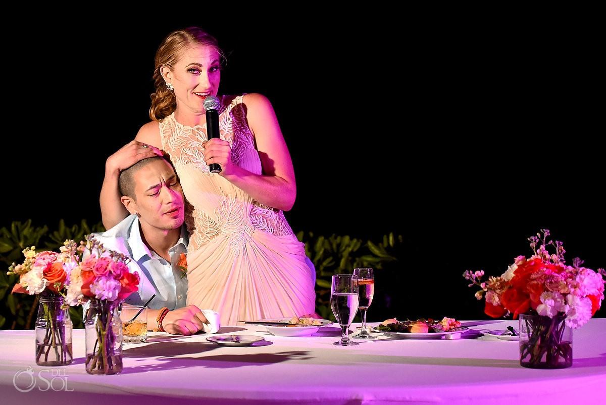 bride giving speeches in her mexico destination wedding