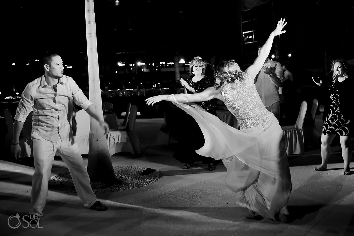 bride and groom dancing at melia hotel cancun mexico