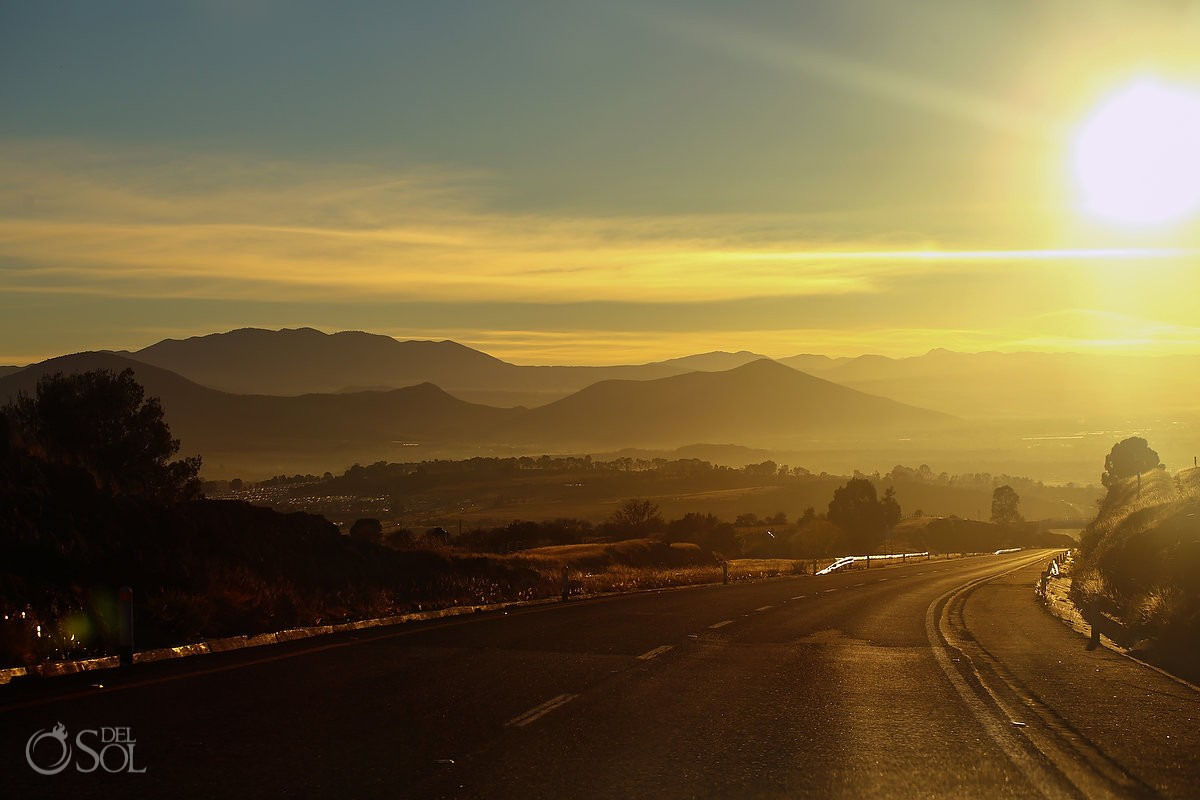 Travel photography road mountains sunset Michoacan