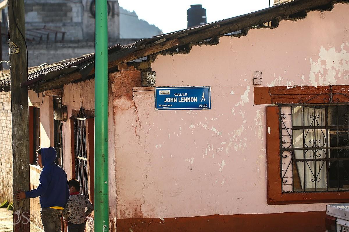 John Lennon street, funny names documentary photography Michoacan