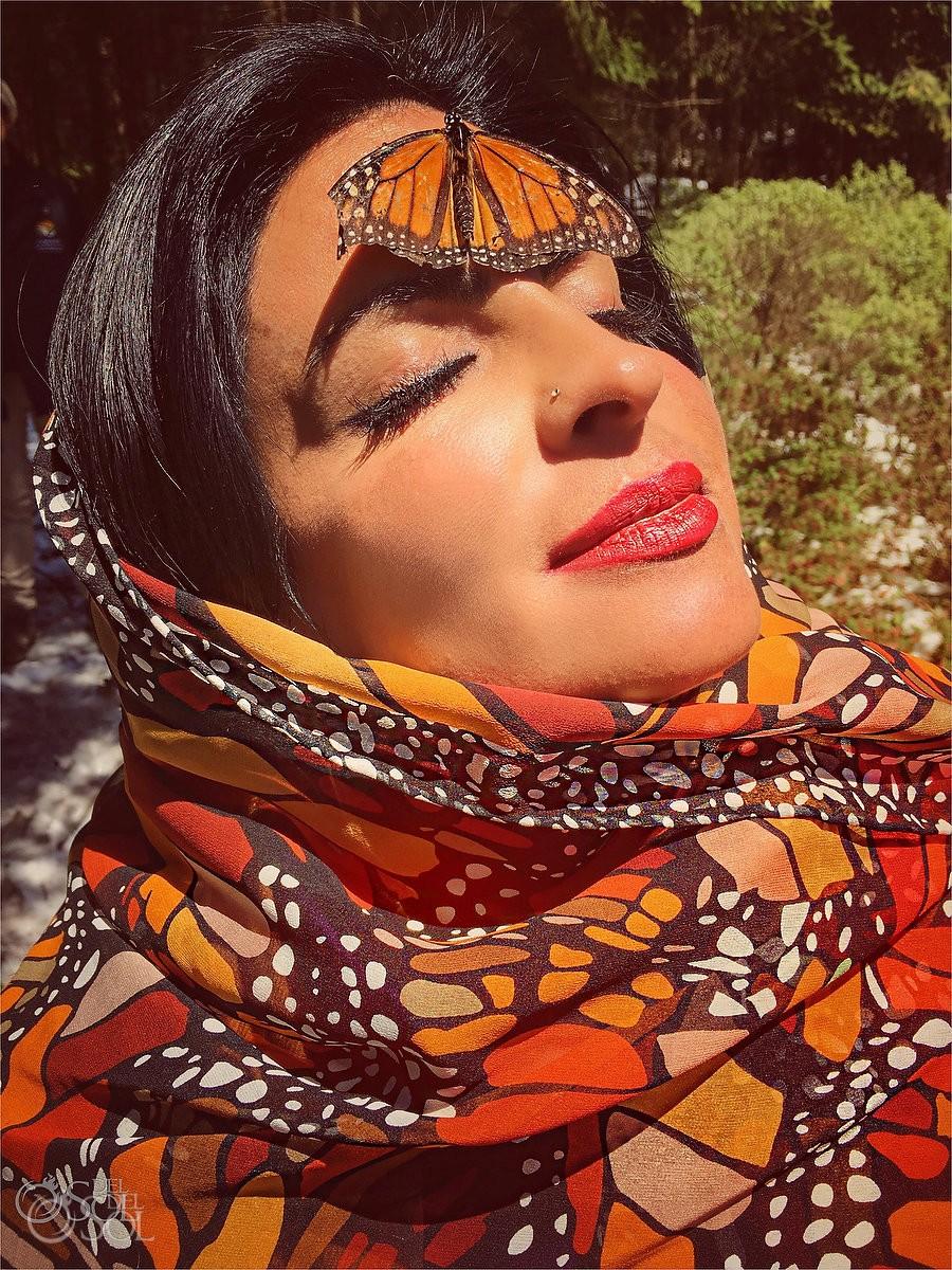 Sol Tamargo wearing Pineda Covalin shawl Michoacan Monarch Butterfly Adventure #aworldofitsown