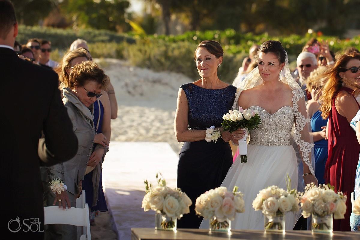 presentation bride entrance mom, beach wedding Moon Palace, Cancun, Mexico