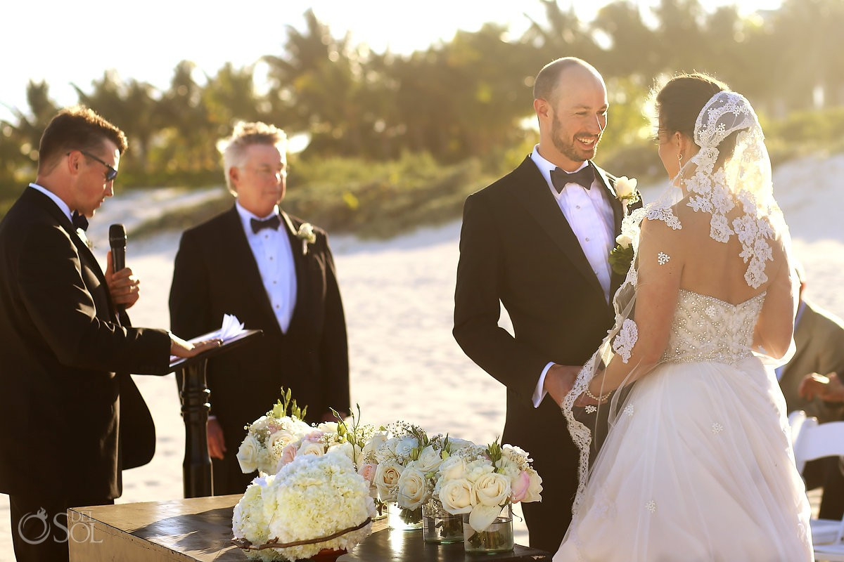 beautiful light, golden hour beach wedding Moon Palace, Cancun, Mexico