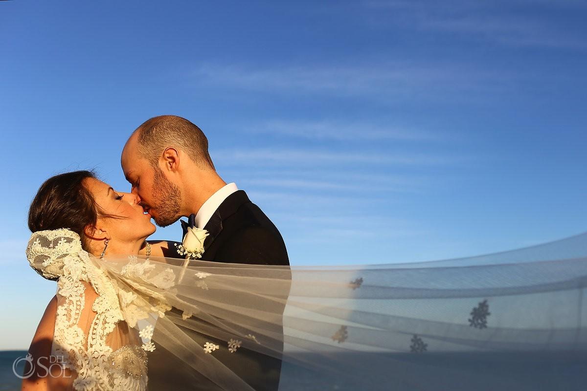 sunset beach wedding portrait Moon Palace, Cancun, Mexico