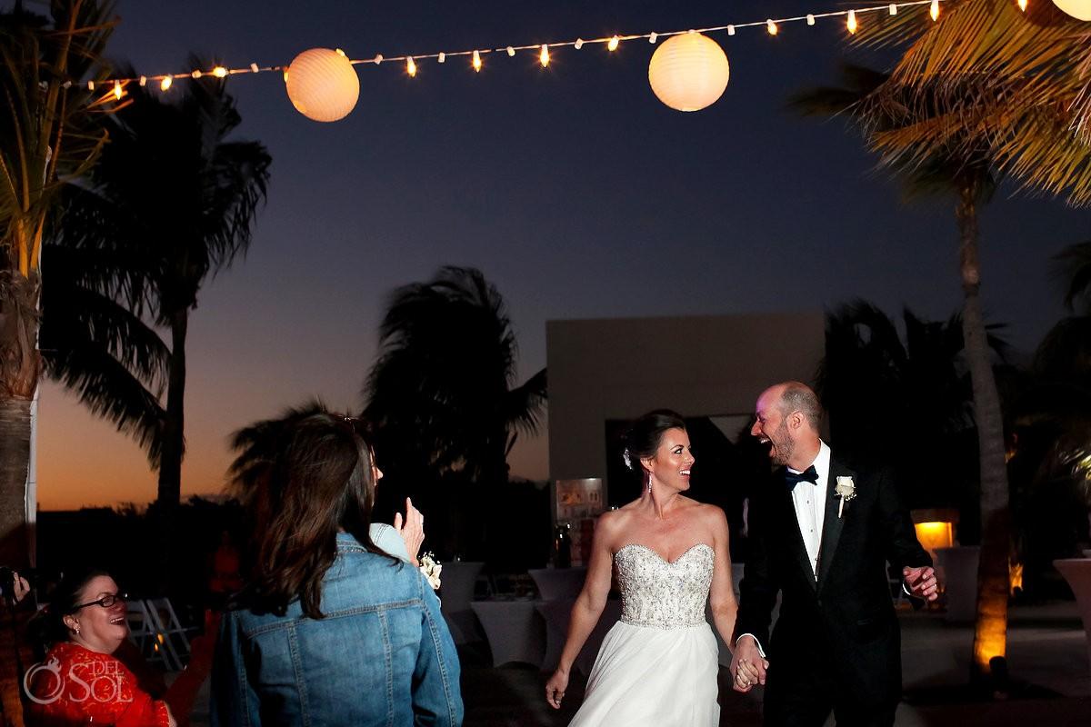 bride groom sunset wedding reception entrance, Moon Palace, Cancun, Mexico