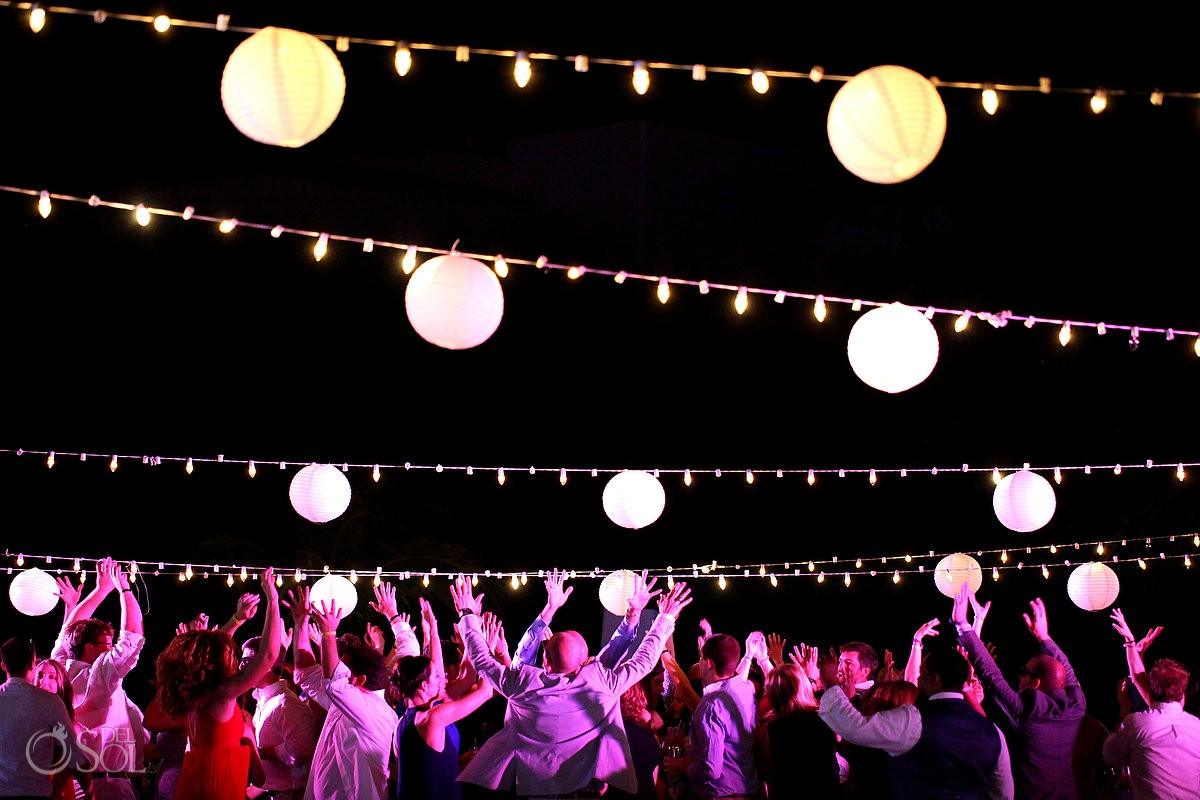 wedding reception party paper lanterns lights, Moon Palace, Cancun, Mexico