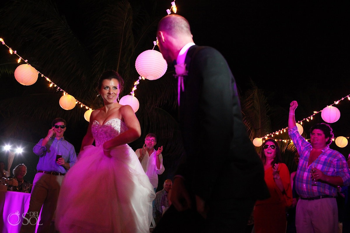 bride groom dancing wedding reception, Moon Palace, Cancun, Mexico