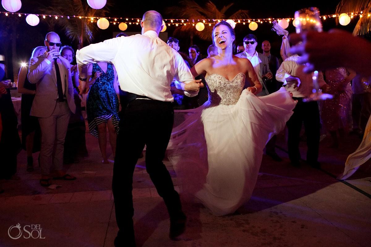 bride groom dancing wedding reception, Moon Palace, Cancun, Mexico