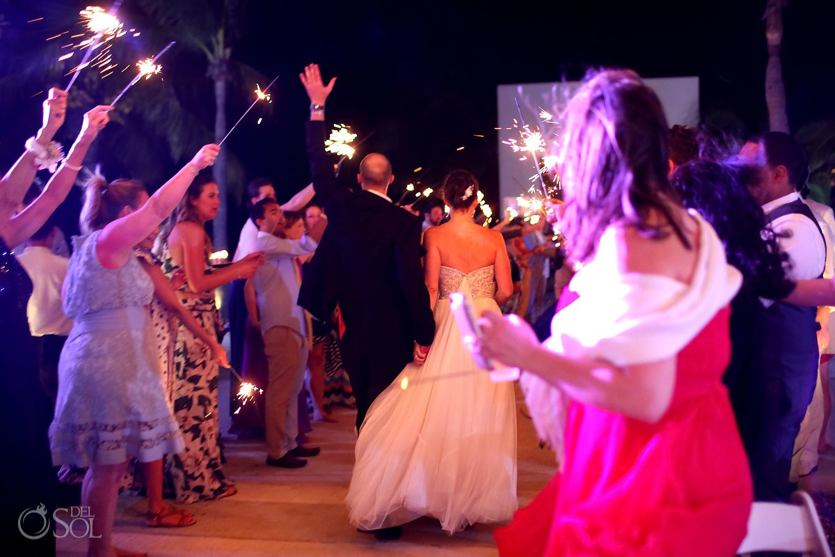 sparkeler exit wedding reception, Moon Palace, Cancun, Mexico