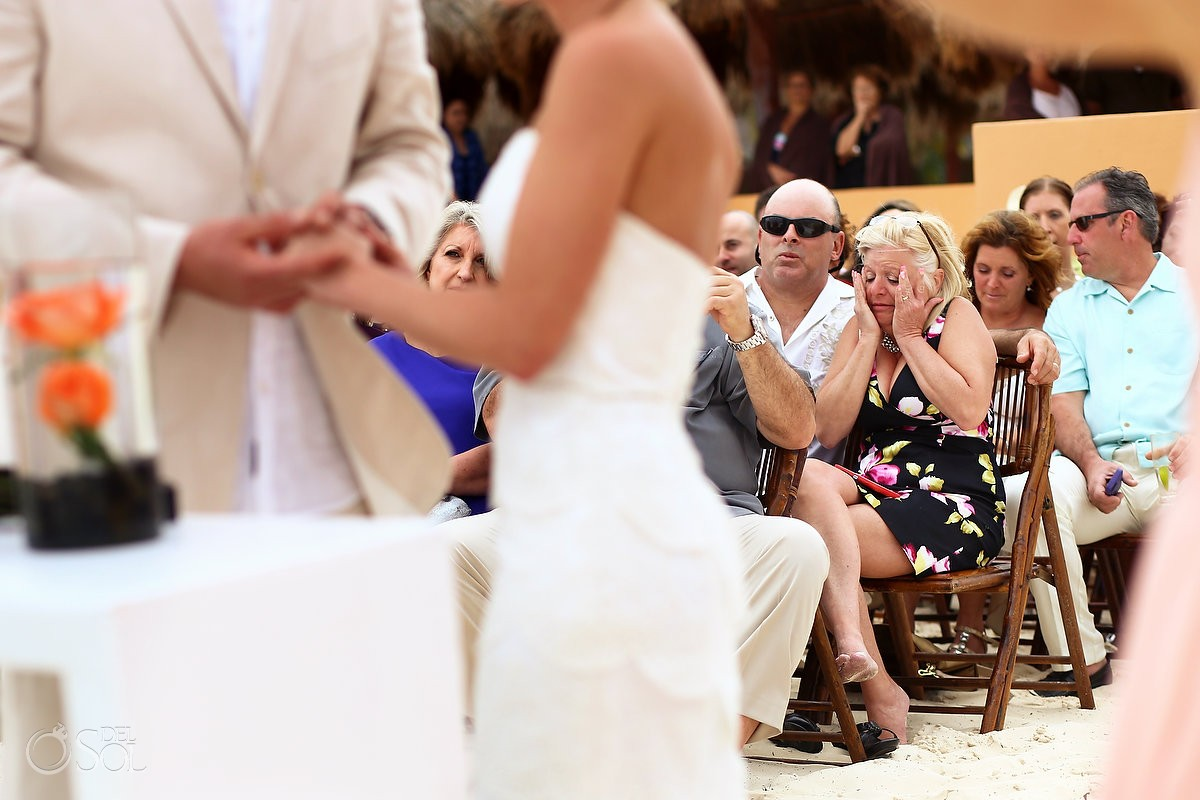 emotional guest crying, beach wedding ceremony Now Sapphire