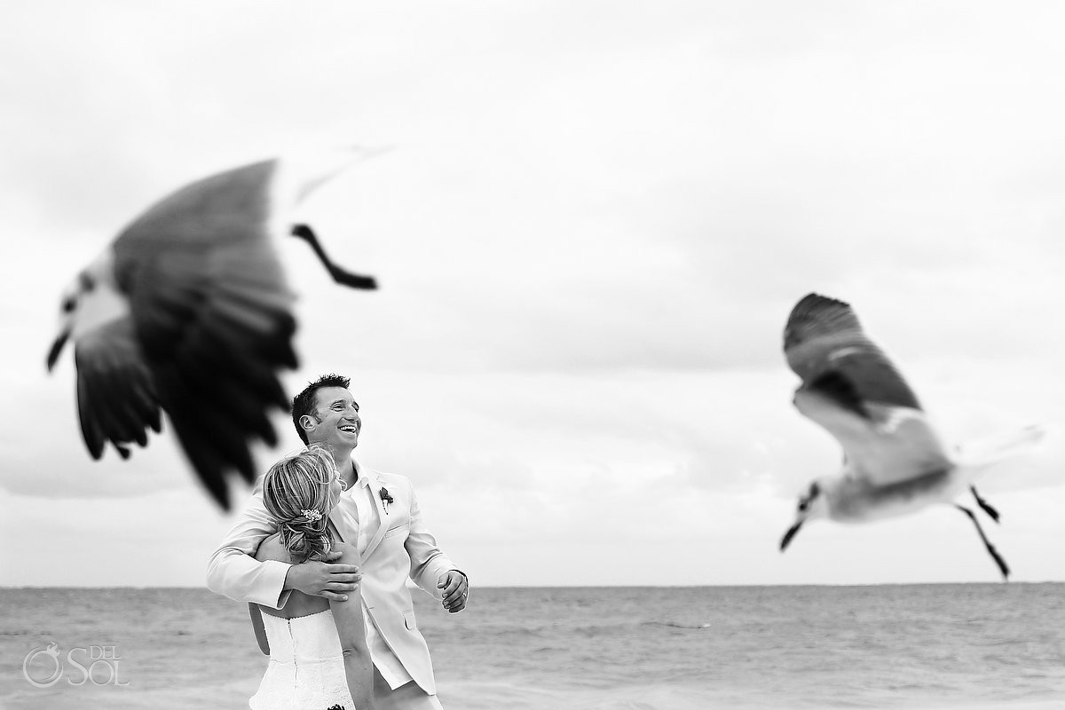 black white candid wedding portrait birds seagulls flying creative framing , Now Sapphire beach