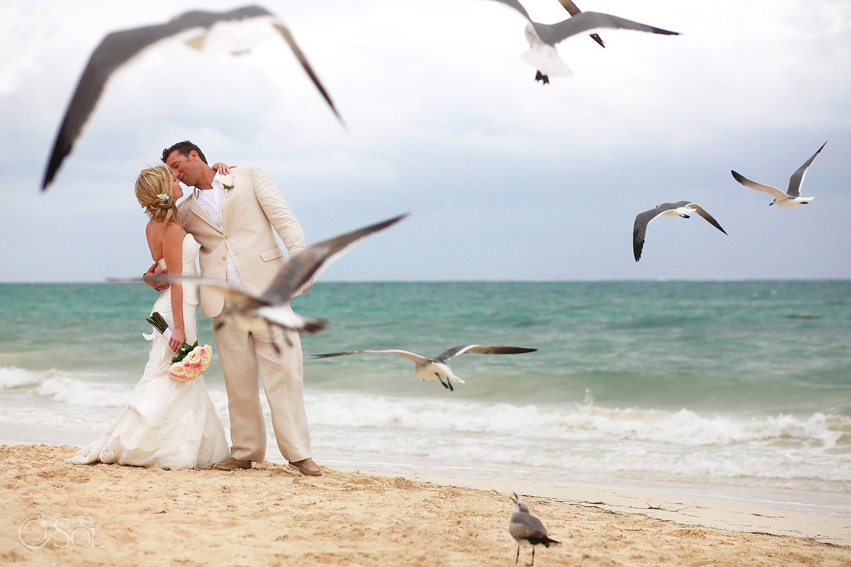 creative wedding portrait birds seagulls flying creative framing , Now Sapphire beach