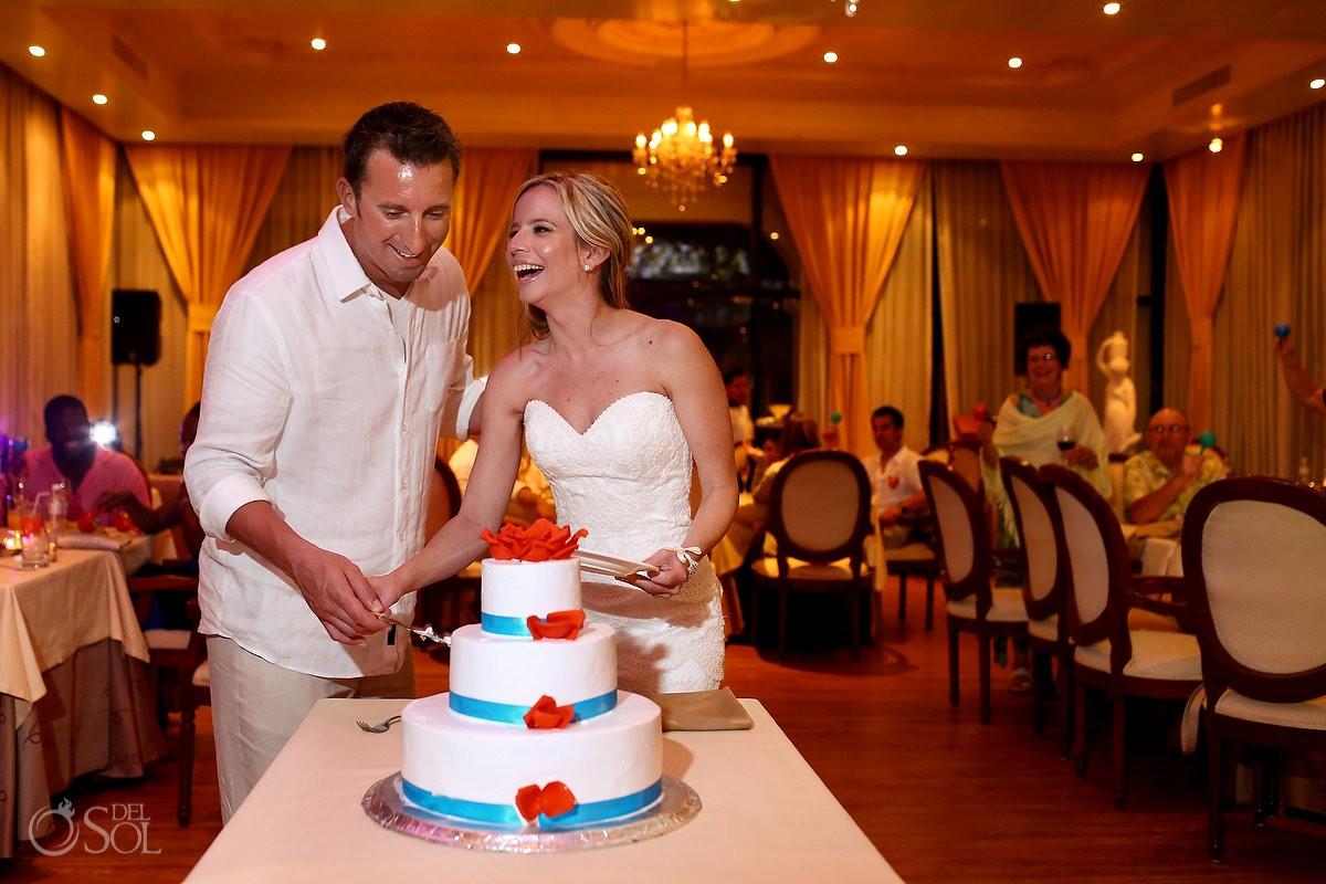 cake cutting indoor restaurant wedding reception venue, Now Sapphire rain