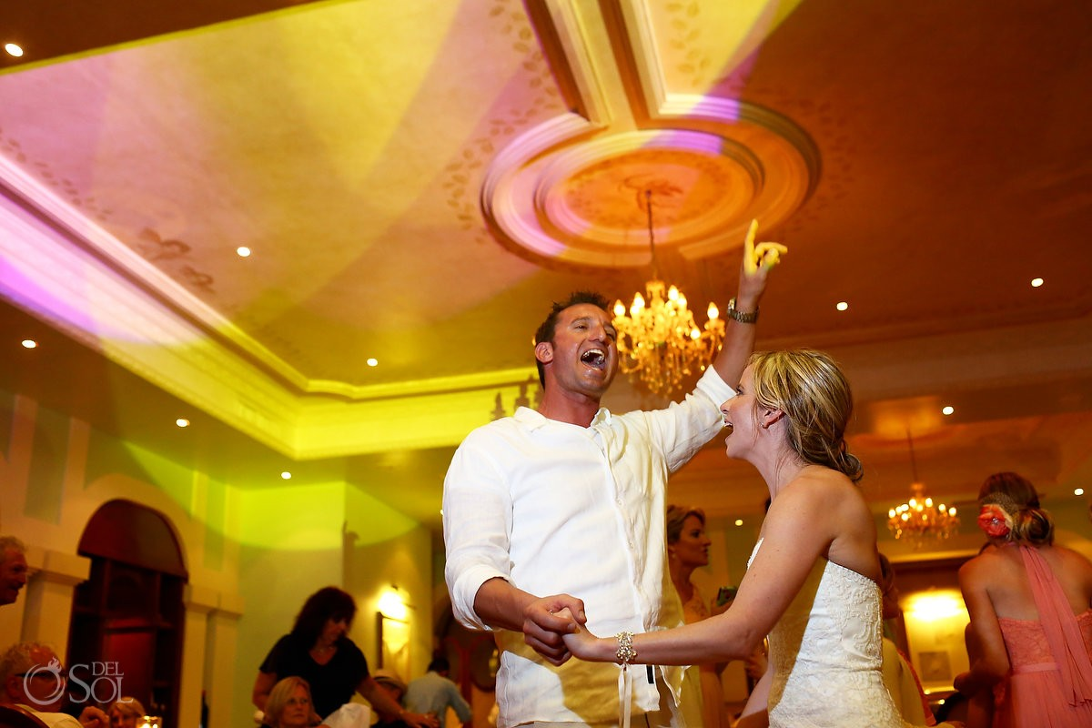 bride groom dancing inside restaurant wedding reception Now Sapphire Resort