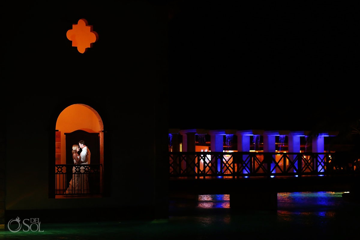 Artistic night time wedding portrait, Now Sapphire Resort