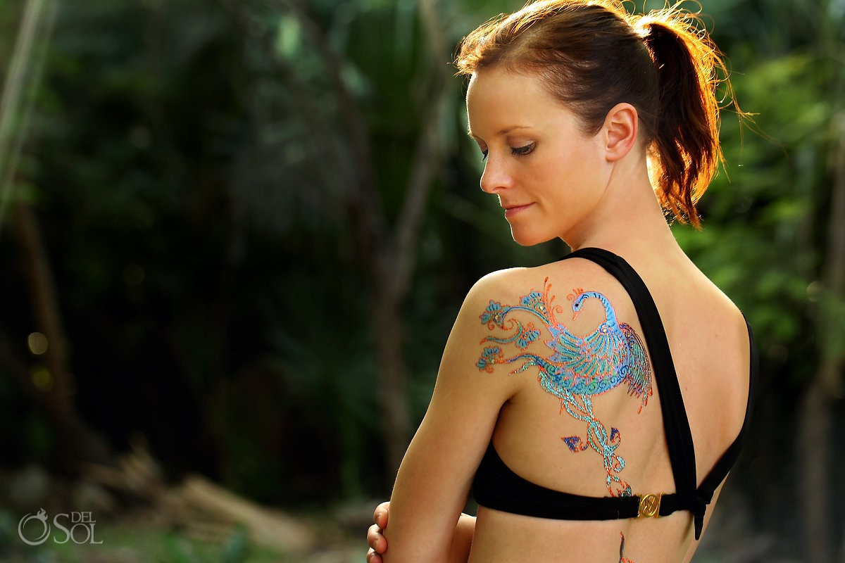 Mineral art body paint tattoo phoenix. Fun, empowering portraits celebrating beauty strength women