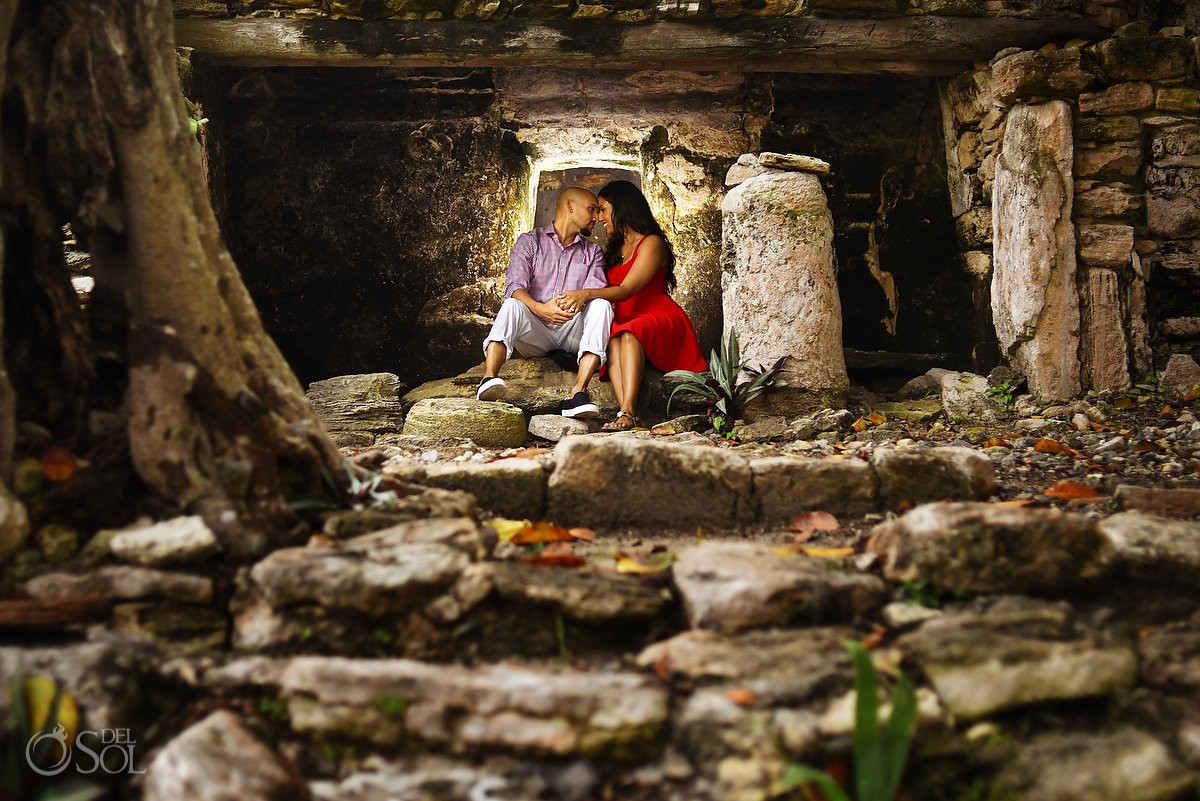playa del carmen engagement portraits playacar mayan ruins jungle red dress