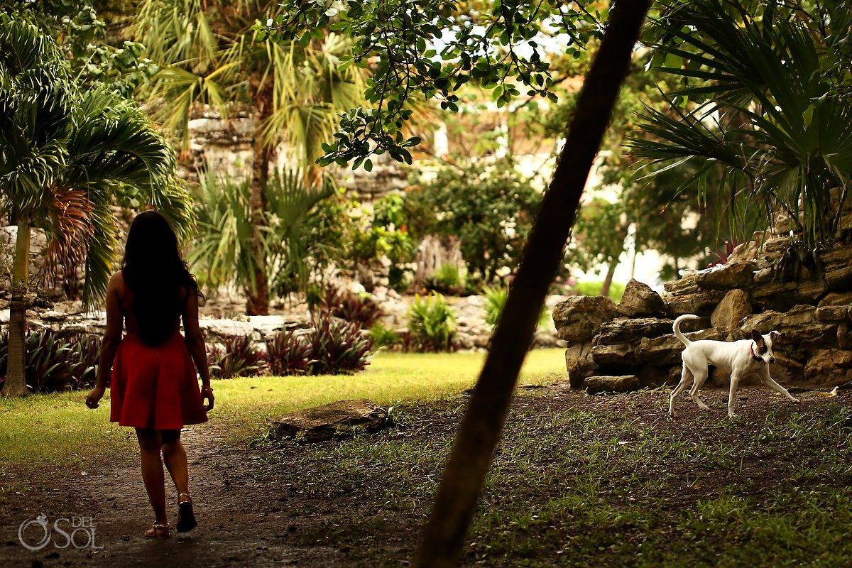 playa del carmen engagement portraits playacar mayan ruins jungle red dress street photography dog