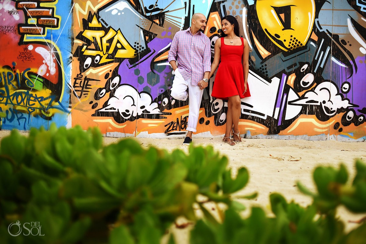 playa del carmen beach portraits, graffiti wall red dress