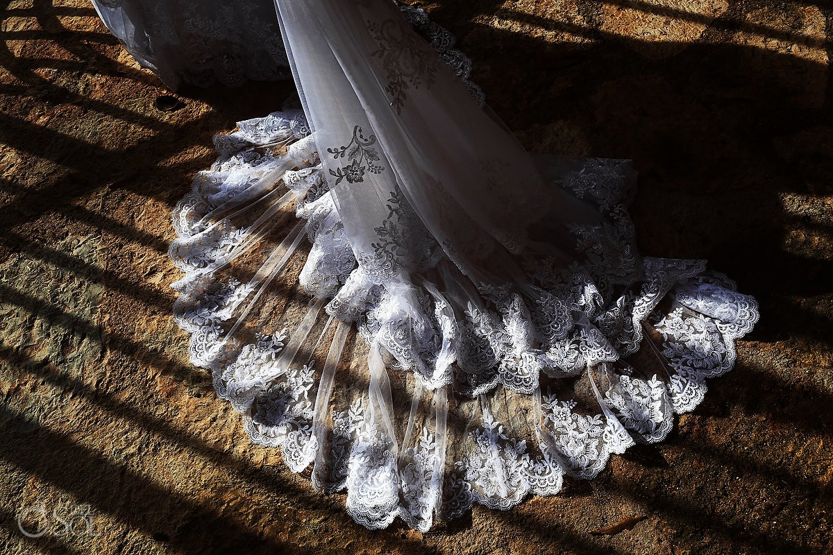 Essense of Australia lace wedding dress train detail, Xcaret Park, Playa del Carmen, Mexico