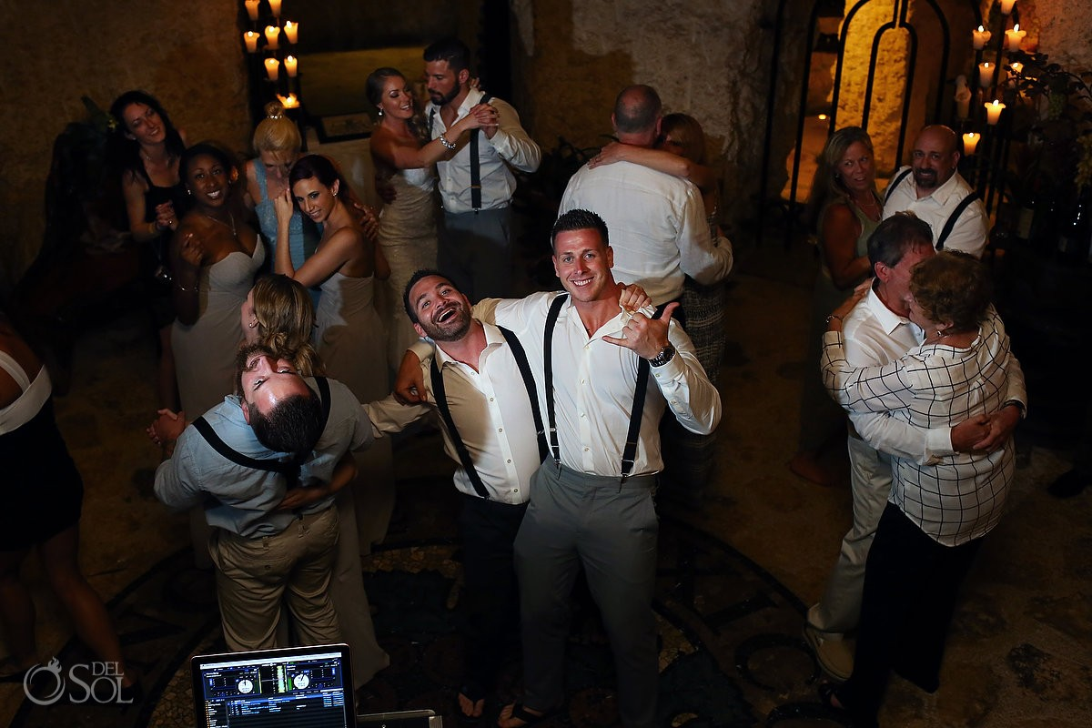 wedding Reception fun dancing, Xcaret rain plan B wine cellar