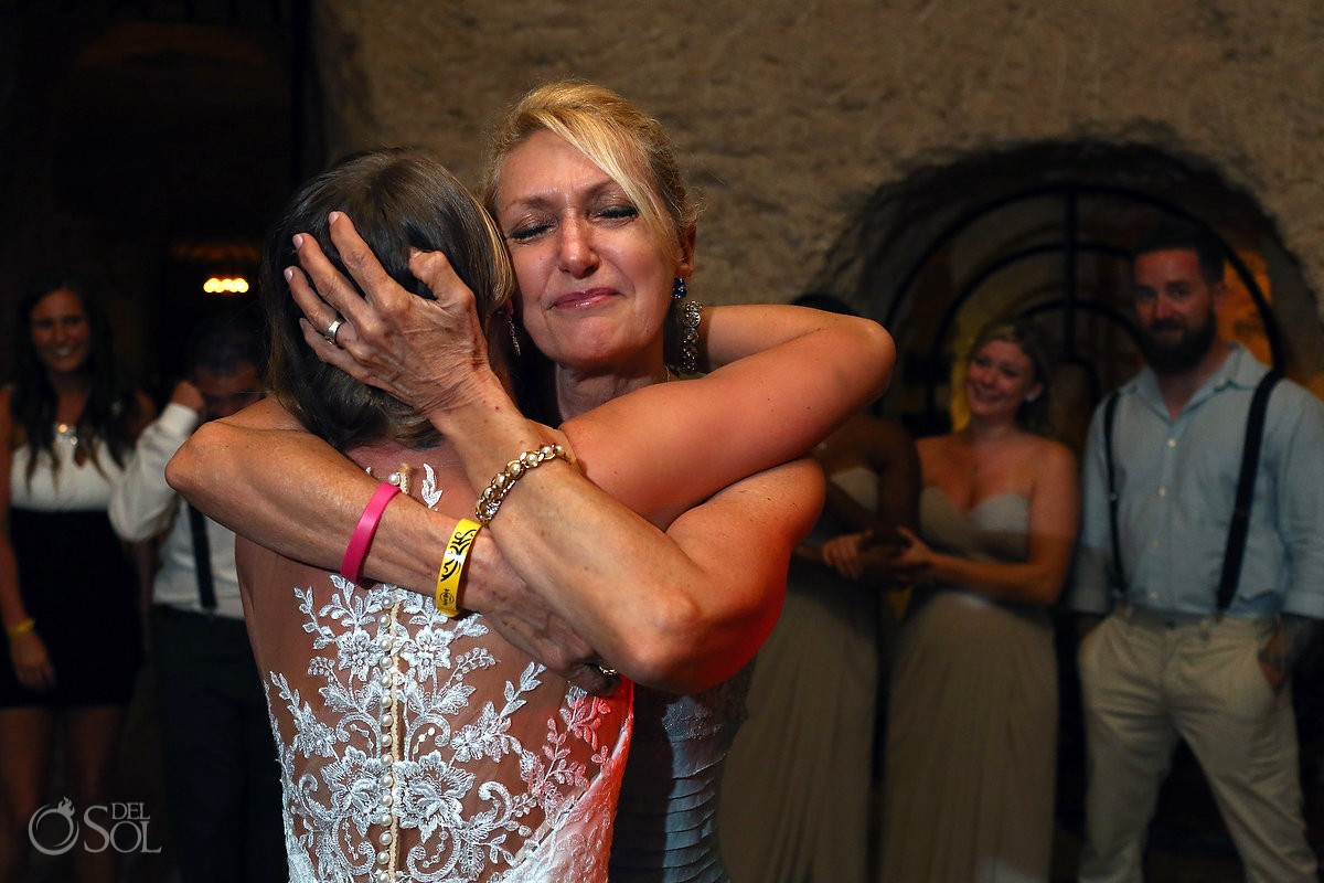 emotional mother daughter bride dance, Xcaret rain plan B wine cellar