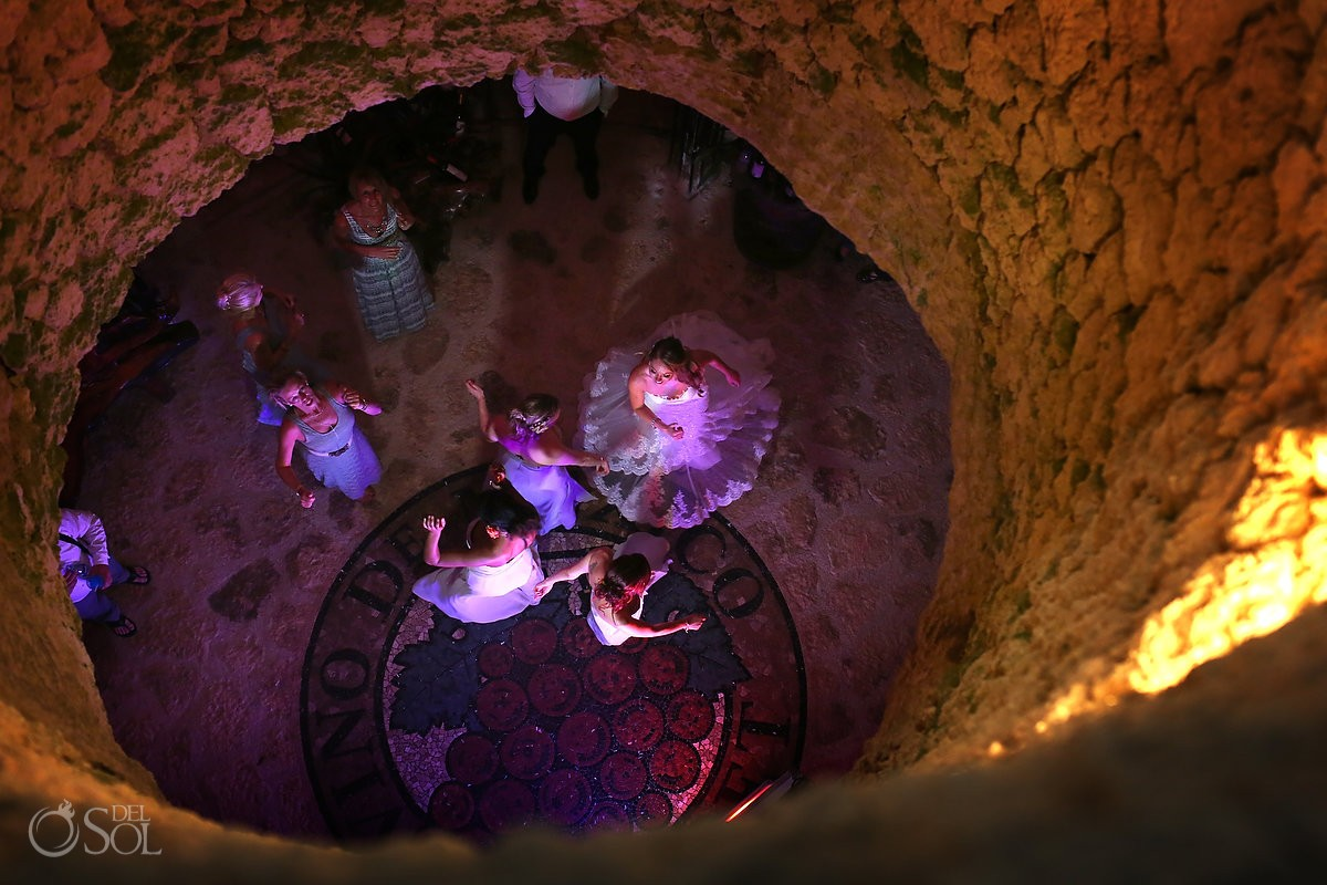 wedding receptiondancing from above, wine cellar Xcaret park