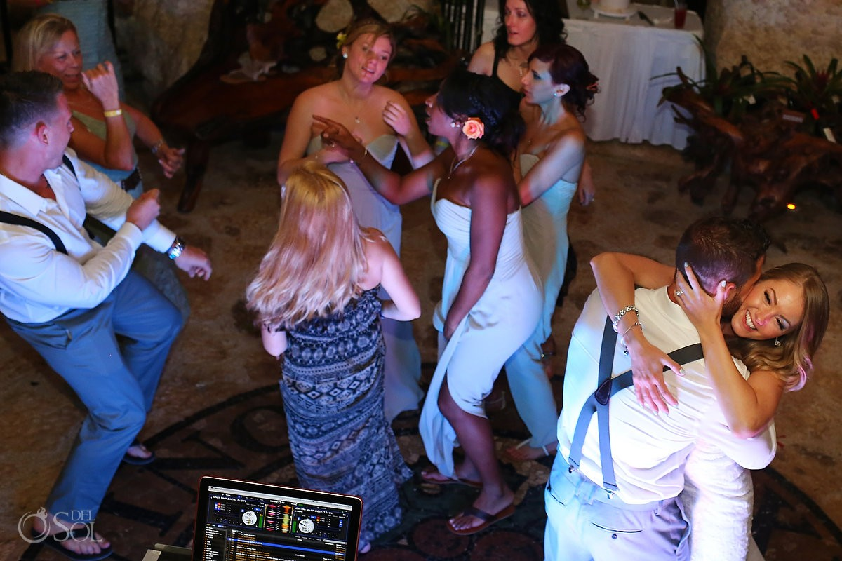 wedding receptionfun dancing, wine cellar Xcaret park