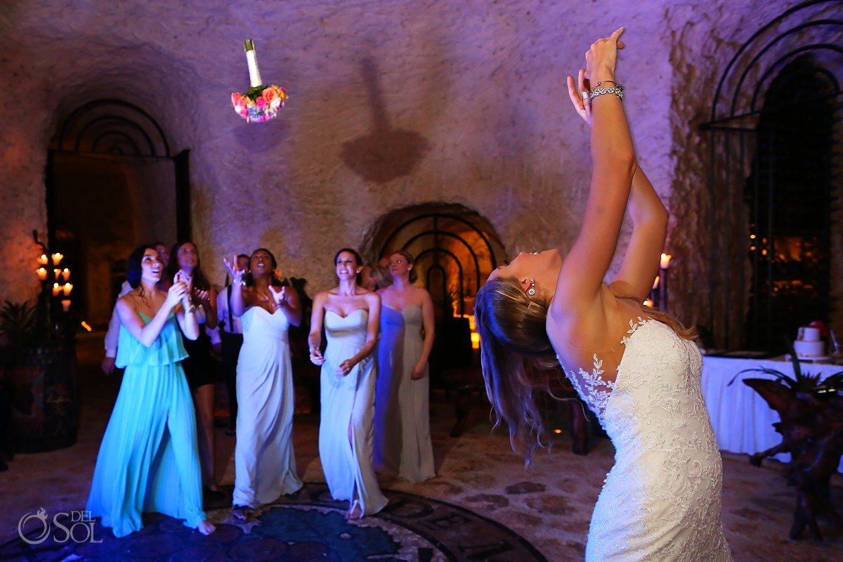 wedding reception bouquet toss, wine cellar Xcaret park