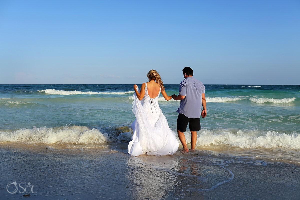 destination wedding photograph of bride and groom at hotel esencia mexico