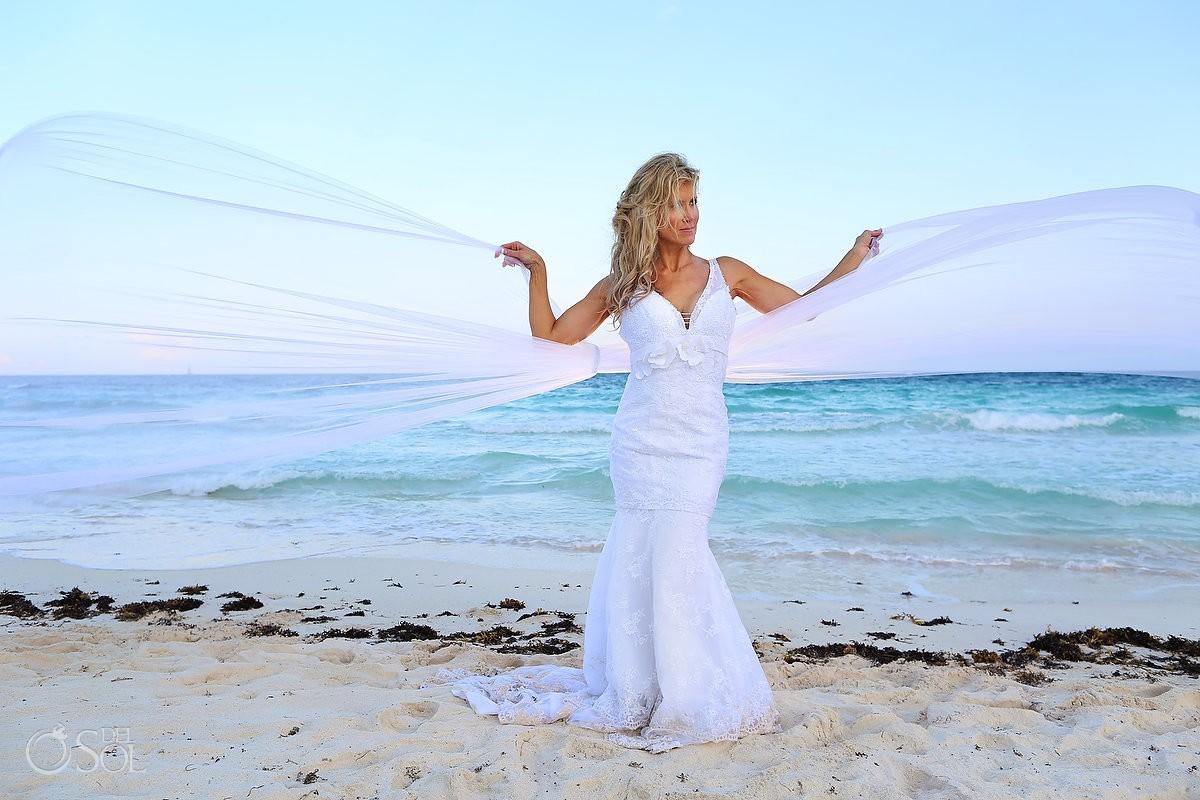 destination wedding photograph of bride and veil at hotel esencia