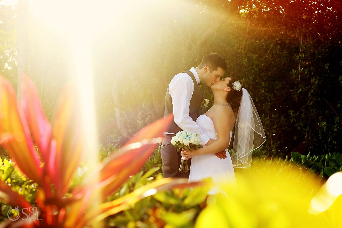beautiful light sunset garden wedding portrait, BlueBay Grand Esmeralda, Playa del Carmen, Mexico