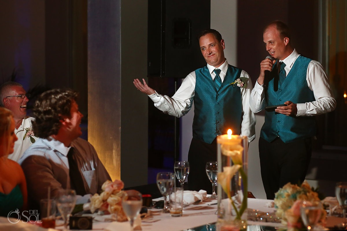speeches wedding reception VIP lounge BlueBay Grand Esmeralda, Playa del Carmen, Mexico
