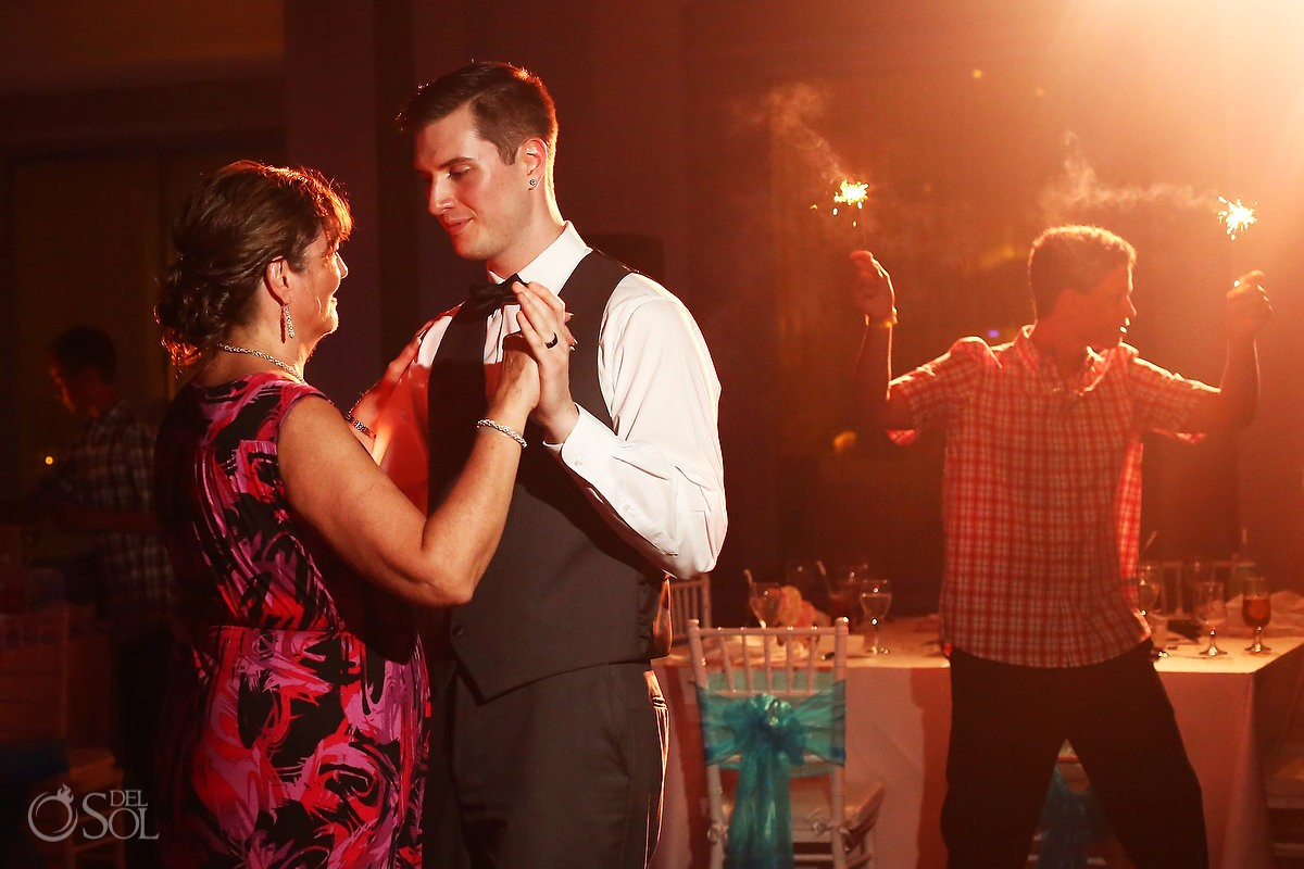 mother son first dance, wedding reception VIP lounge BlueBay Grand Esmeralda, Playa del Carmen, Mexico