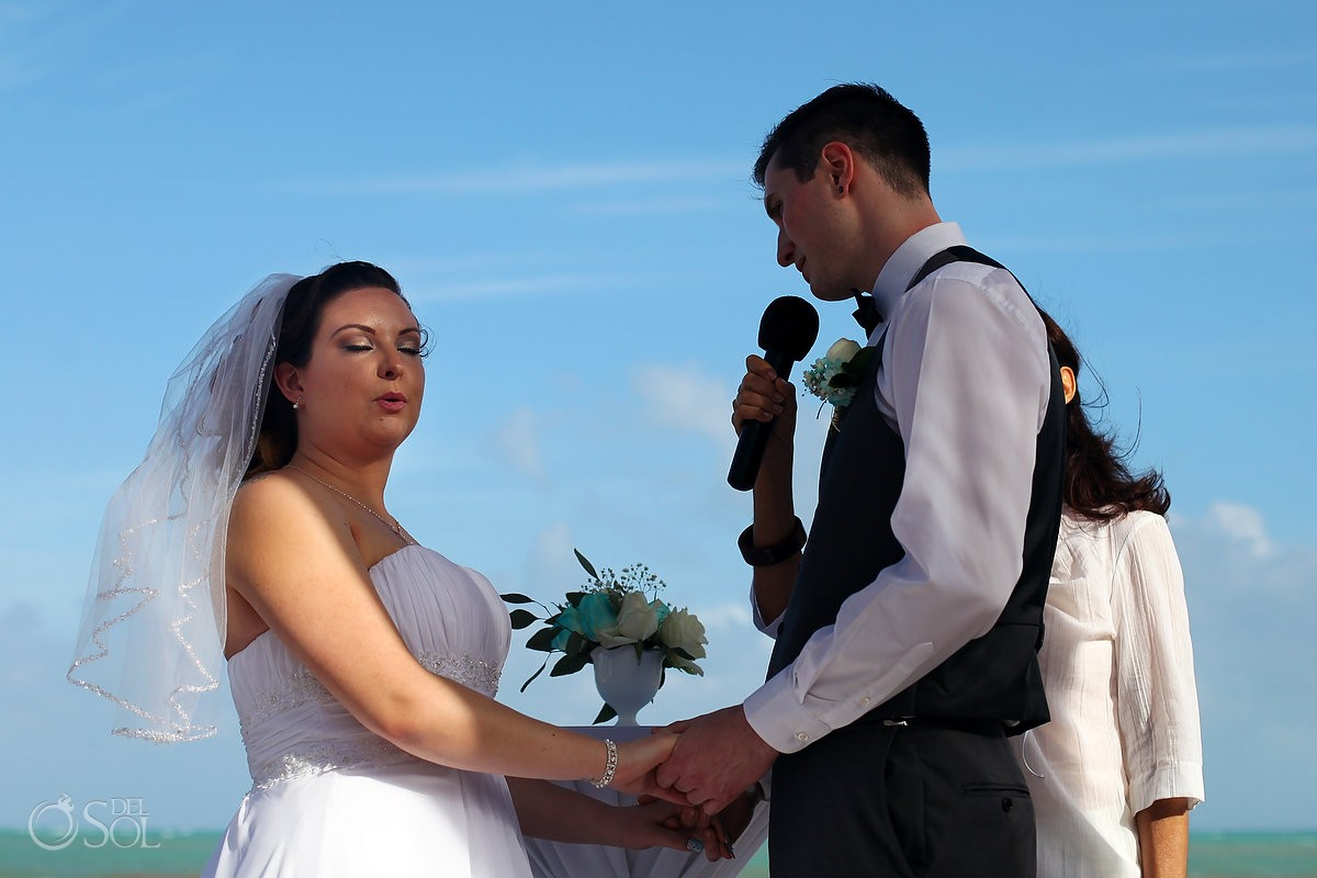 emotional bride grooms vows, beach wedding BlueBay Grand Esmeralda, Playa del Carmen, Mexico